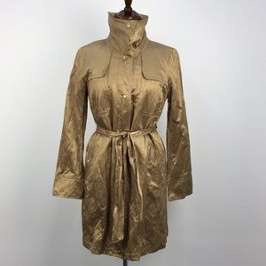 Michael Kors Gold Metallic Trench Coat Jacket